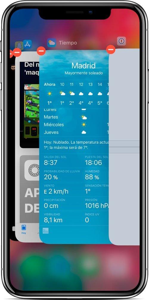 Multitarea en iPhone X