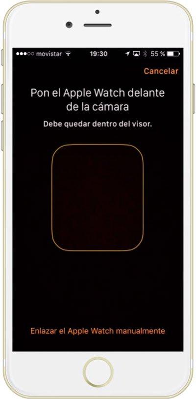 Recuadro de escaner de imagen para sincronizar el Apple Watch