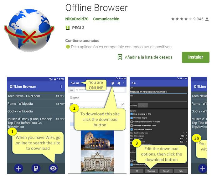 offline browser, navegador sin conexion