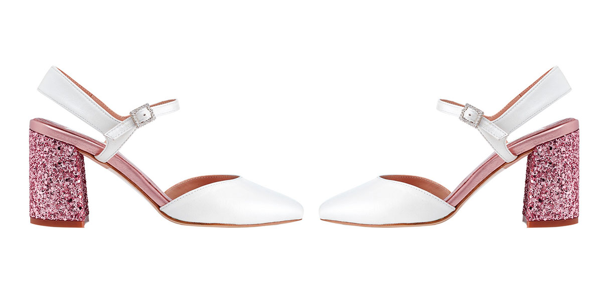 8320006d Zapato de salón de mujer Miss García en combinación de glitter y napa blanca