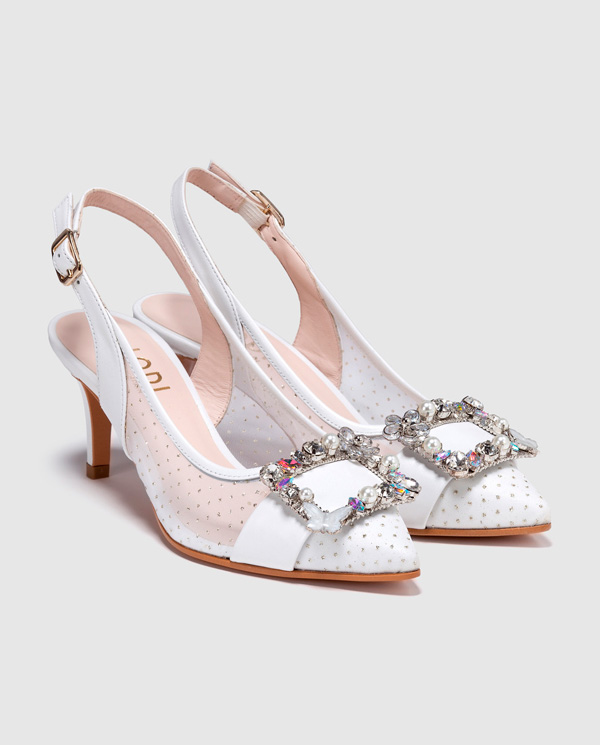 dcabba1be1769 Zapatos de salón de novia Lodi con detalle plumeti blanco