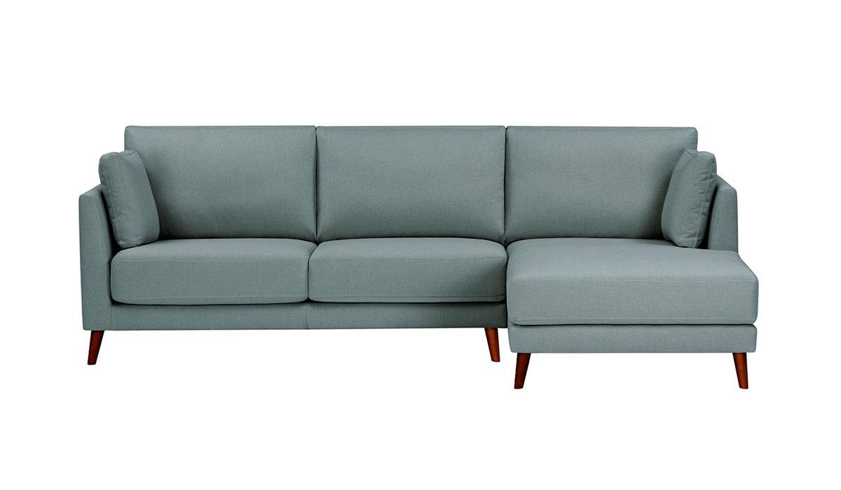 ac92884bd704f Sofá tapizado de 2 plazas con chaise longue derecha azul claro Selfoss Room  - El Corte