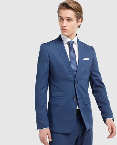caf92784a326f Chaqueta de traje de hombre Fórmula Joven slim azul ojo de perdiz