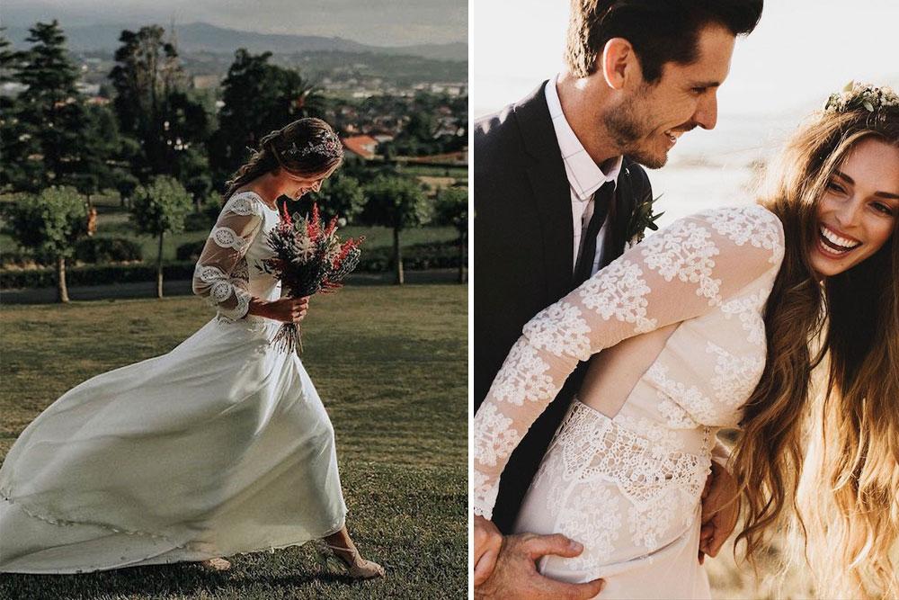 Vestidos de novia de encaje con manga